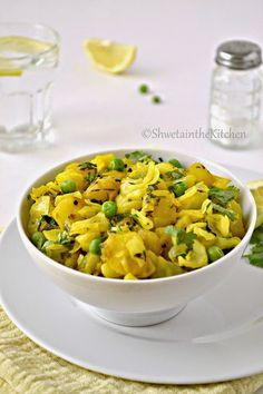 Shweta in the Kitchen: Cabbage Potato and Green Peas Stir Fry - Kobichi Bhaji Green Pea Salad, Green Peas, Cabbage And Potatoes, Fried Cabbage, Pea Recipes, Indian Food Recipes, Ethnic Recipes, Fried Potatoes, Veggie Dishes