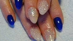 navy & nude acrylic nails using gels and pixie crystals