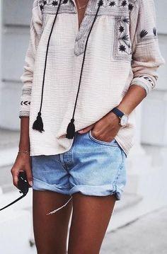 embroidered tassel tunic + denim shorts. summer street style. #tanned