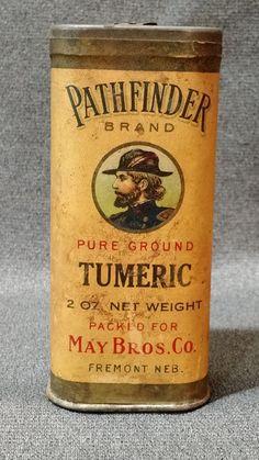Rare Antique Pathfinder Brand Paper Label Tumeric Spice Tin Fremont, NE #PATHFINDER