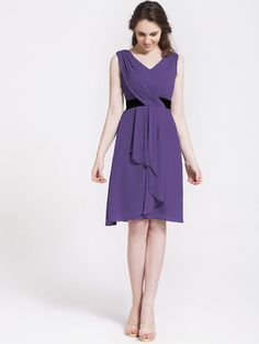 Chiffon Cascade Draped Bridesmaid Dress | Plus and Petite sizes available! Hundreds of styles, tons of colors!