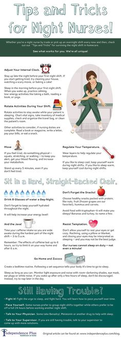"""Whether you're a night nurse by trade or pick up an overnight shift every now and then, check out our """"Tips and Tricks"""" infographic for surviving the night shift in homecare. See what works for you. Nursing School Tips, Nursing Career, Travel Nursing, Nursing Tips, Nursing Notes, Nursing Schools, Nursing Programs, Funny Nursing, Nicu Nursing"""