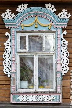 Russian Yurievets casing of the Ivanovo region Wooden Architecture, Russian Architecture, Architecture Details, Wooden Windows, Arched Windows, Windows And Doors, Window Shutters, Window Frames, Window Ideas