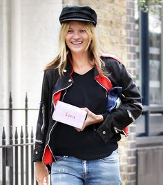 @Who What Wear - Kate Moss                 When trying out a trend, looking to Moss for styling inspiration is a no-brainer, which is why her recent ensemble while out in London works perfectly for today's story. She paired her cap with an athletic jacket, black t-shirt, and distressed Mango jeans (similar style here).