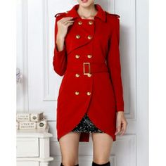 Women's Turn-Down Collar Belted Double-Breasted Design Long Sleeves Slimming Trench Coat