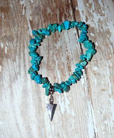 Turquoise Stone Chip Silver Arrow Chrm Native by Cheshujewelry, $14.00
