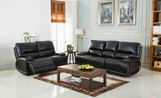 2 Pc Generation Trade Aurora Black Leather Gel Reclining Sofa Loveseat Set 663061