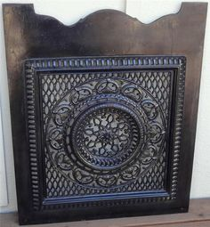 Antique Black Enameled Cast Iron Ornate Victorian Cut Out Fireplace Summer Cover $349 or Best Offer!