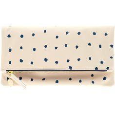 Clare V Supreme Foldover Clutch ❤ liked on Polyvore featuring bags, handbags, clutches, creme with mini spots, mini handbags, genuine leather handbags, cream leather handbag, pink purse and polka dot handbag