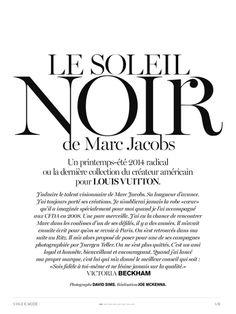 'Le Soleil Noir de Marc Jacobs' Edie Campbell by David Sims for Vogue Paris December January 13.14 [Editorial] - Fashion Copious