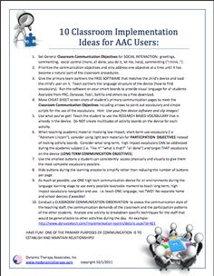 10 Classroom Implementation Ideasfor AAC Users from @Lisa Pulling Moore Therapy Associates, Inc.