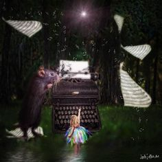 #magical #fairygirl #music #sheetmusic #mouse #typewriter #fantasy #musicnotes #photoart #composition #photopainting #manipulation #woods #moon by lyndasart