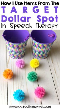 Great ideas for using the Target Dollar Spot items in speech therapy activities. #speechtherapyideas #speechtherapyactivities
