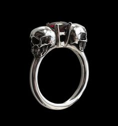 925 Solid Sterling Silver Dark Gothic Skull Ring with Red Garnet - Love to Death Ring - Inspired by Lovers Of Valdaro - ALL SIZES