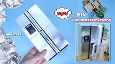 MINIATURE DIY - 4 door stainless steel refrigerator(Dollhouse Refrigerat...