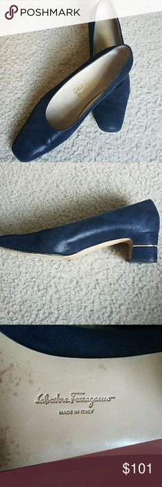 FERRAGAMO Blue shoes These are classic! Gently worn, true navy in color. Gold line around the 2 inch heels. Salvatore Ferragamo Shoes