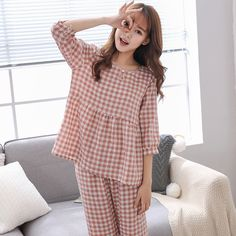 Seersucker Intertwined Cotton Pajamas Plaid Five-point Sleeves Pajamas Girls Short Dresses, Dresses Kids Girl, Night Suit For Women, Cotton Pyjamas, Pajamas Women, Seersucker, Simple Outfits, Couture, Womens Fashion