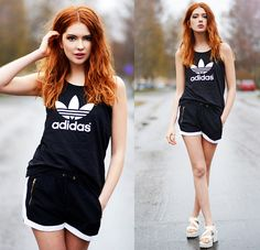 Ebba Zingmark - Ivyrevel Shorts, Adidas Top, Vagabond Sandals - S as in Sporty