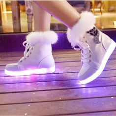 Women's Spring Fall Winter Light Up Shoes Leatherette Outdoor Casual Athletic Flat Heel Lace-up Black White 2017 - Hype Shoes, Women's Shoes, Me Too Shoes, Shoe Boots, Shoes Sneakers, Small Heel Shoes, Fox Shoes, Ankle Boots, Sneakers Mode