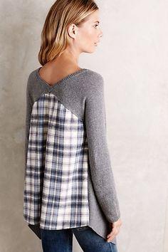 plaid and knit shirt Look Fashion, Diy Fashion, Vestidos Polo, Umgestaltete Shirts, Upcycling Fashion, Mode Cool, Shirt Refashion, Cute Fall Outfits, Knit Shirt