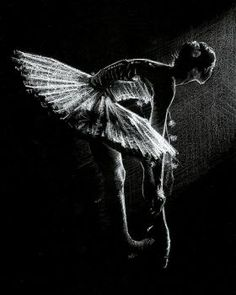 A Figurative drawing of a ballerina - created using simply white pencil on black paper. This is one of a series of small...