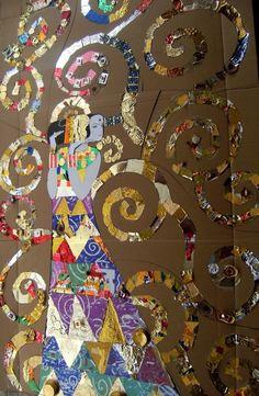 El món daurat de Klimt/ Gold World Klimt Klimt Art, Collaborative Art Projects, Artist Project, Atelier D Art, Ecole Art, Art Classroom, Art Club, Art Plastique, Teaching Art