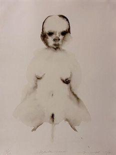 """ Waterende Vrouw ""  Kleur Lithografie, 1996.   Blad Grootte: 50 x 66 Cm,"