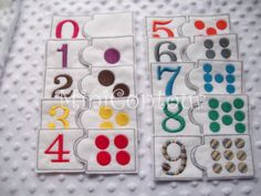 Felt Numbers Matching Game Learning toy by MiniContour on Etsy. (could be used as a quiet book page)