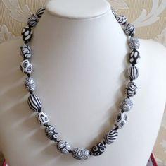 Monochrome Polymer Clay Bead Necklace by Ladyhawkejewellery, £12.00