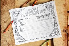 Kids' Thanksgiving Activity Placemat
