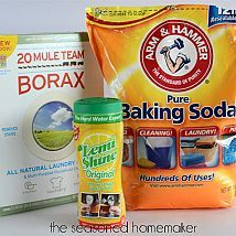 Homemade Dishwasher Detergent {for spot-free dishes} The recipe is simple, the result is even better. It cleans your dishes and there won't be a residue left in the dishwasher. What could be better. All you need: 2 C. Borax 2 C. Baking Soda 6 oz. LemiShine (available at Target, Walmart, and most grocery stores) Mix together. Use 1 T. per full load.