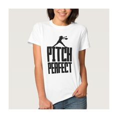 Pitch Perfect (Softball) Shirt ($21) ❤ liked on Polyvore featuring tops, shirt top, white shirt and white top