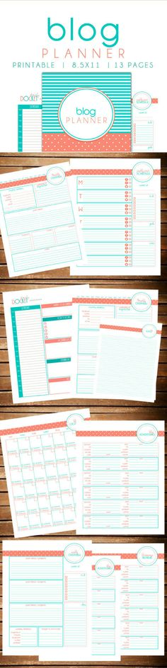 This would be great for organizing all of my blogging content! 13 printable pages of calendars, dockets and schedules! #ad #Printable #printableplanner #blogging #blogplanners #blogplanning #blogplan #instantdownload  #calender