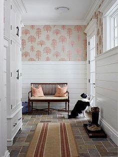 Prefer horizontal wood paneling instead of standard beadboard. Love the fun wallpaper...good balance