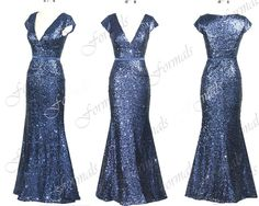Mermaid Straps Sequined Long Navy Evening Gown