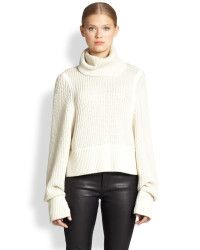 Helmut Lang | Beige Austere Oversized Ribbed Wool Turtleneck Sweater | Lyst