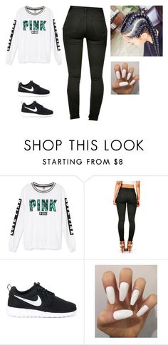 """Pink"" by t-green-love ❤ liked on Polyvore featuring beauty, Victoria's Secret and NIKE"