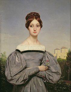 Portrait of Louise Vernet, Emile Jean Horace Vernet, 1830s dress