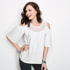 Cold-Shoulder Flirty Top in Women's   The intricate crochet detail and cutout cold shoulders are a great way to make a statement without too much. FEATURES • Crochet insets on the front and back • Keyhole button closure on the back • Cutout cold-shoulders • Short sleeves MATERIALS • Body: 95% Polyester; 5% Spandex • Lace: 100% Polyester. Also available in Misses S-XL ~ Avon Lady Beth Bailey ~ Avon eStore LipstickShoesAndMore.com