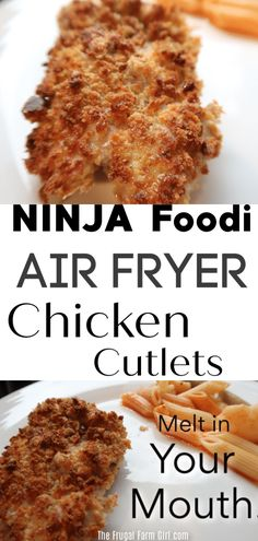 Ninja Foodi Air Fryer Chicken Cutlets w/Penne & Cauliflower Cooking chicken in a Ninja Foodi is a blast. Air Fryer chicken cutlets are one of my new favorites. Fresh or frozen your chicken will come out moist and delicious. Turkey Cutlet Recipes, Chicken Cutlet Recipes, Cutlets Recipes, Recipe Chicken, Penne, Fresco, Ninja Cooking System, Breaded Chicken Cutlets, Baked Chicken