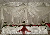 Complimentary draping offered with Stonehaven's wedding packages, Stonehaven is located on the Vaal River Rose Bush, Private Garden, Draping, Elegant Wedding, River, Table Decorations, Weddings, Holiday Decor, Wedding