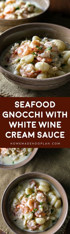 Seafood Gnocchi with White Wine Cream Sauce! Tender gnocchi, succulent shrimp, and rich crab meat all served in a creamy white wine sauce. | HomemadeHooplah.com