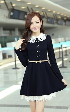 Autumn Fashion Slim Long Sleeve Dress (With Belt)
