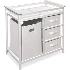The modern white changing table has a casual look and is conveniently gender-neutral. It comes with a hamper, changing pad, changing table, shelves, and storage drawers. With safety rails on all sides, changing a diaper has never been easier.