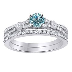 4.5 Ct Round Light Blue Moissanite Sterling Silver Bridal Set Engagement Ring by JewelryHub on Opensky