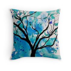 Blue Abstract Tree Drawing throw pillow by Tracey Lee Art Designs