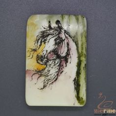 Scrimshaw Pendant  Carved Hand Painted Horse  Rubber Stamp ZL201313 #ZL #Pendant