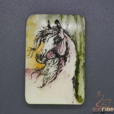 Scrimshaw Pendant  Carved Hand Painted Horse  Rubber Stamp ZL201313 #ZL #Pendant