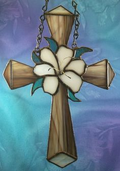 Stained Glass Cross and Lilly Suncatcher Hand made by glassnwood, $17.00