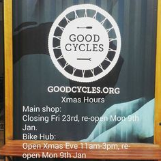 Xmas Hours. The bike hub is open on Xmas Eve for any last minute gifts or gear for your holidays.